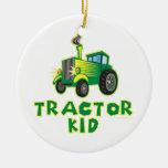 Tractor Kid, Green Christmas Tree Ornament