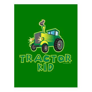 Tractor Kid, Green Postcard