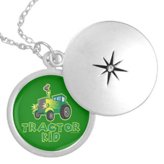Tractor Kid, Green Silver Plated Necklace