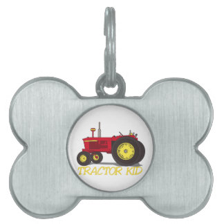Tractor Kid Pet Name Tag