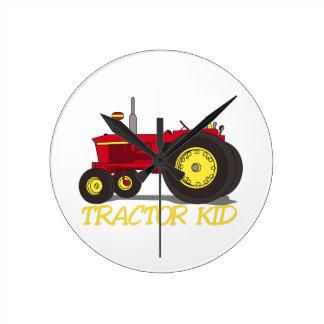 Tractor Kid Round Clock