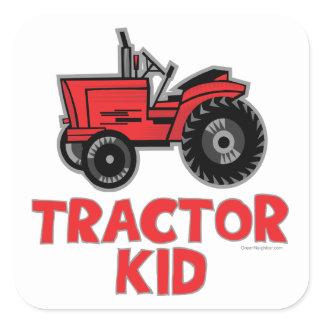 Tractor Kid Square Sticker
