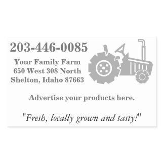Tractor Logo, Family Farm Advertising Rectangular Sticker