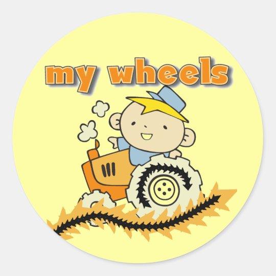Tractor mis camisetas y regalos de las ruedas pegatina redonda