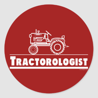 Tractor Ologist RED Classic Round Sticker