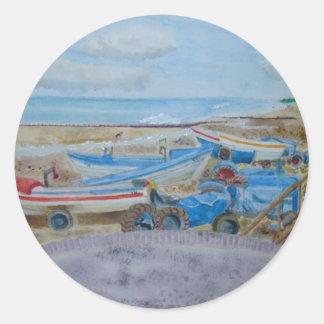 Tractor on Cromer Beach, East Coast Classic Round Sticker