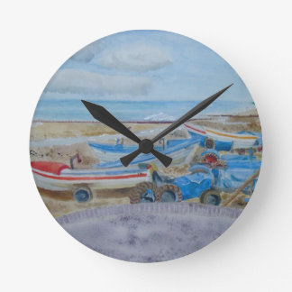 Tractor on Cromer Beach, East Coast Round Clock