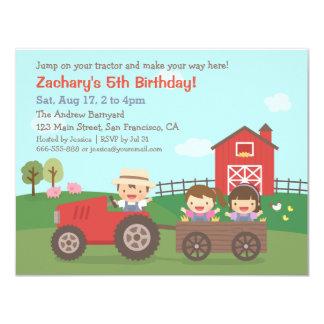 Tractor on Farm Kids Birthday Party Invitations