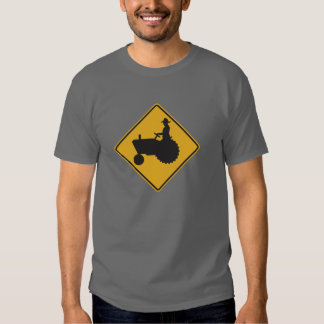 Tractor On Road Street Sign Tees