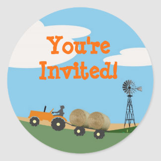 Tractor on the Farm Party Envelope Seal: Orange Tr Classic Round Sticker