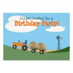 Tractor on the Farm Party Invitation: Orange Tract