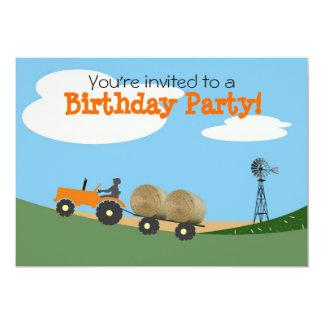 """Tractor on the Farm Party Invitation: Orange Tract 5"""" X 7"""" Invitation Card"""