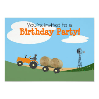 Tractor on the Farm Party Invitation: Orange Tract Card