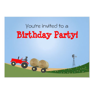 """Tractor on the Farm Party Invitation: Red Tractor 5"""" X 7"""" Invitation Card"""