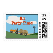 Tractor on the Farm Party Postage: Orange Tractor Postage