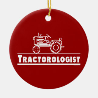 Tractor Double-Sided Ceramic Round Christmas Ornament