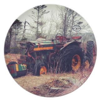 Tractor oxidado plato para fiesta