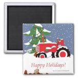 Tractor para el navidad imanes