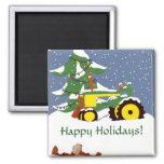 Tractor para el navidad imanes de nevera