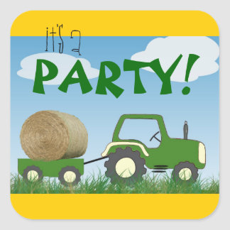 Tractor Party Envelope Seal Square Sticker
