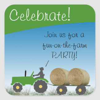 Tractor Party Envelope Seal Square Stickers