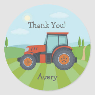 Tractor party favor stickers