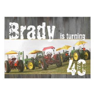 Tractor Party Invitation: Barn wood & tractors
