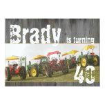"Tractor Party Invitation: Barn wood & tractors 5"" X 7"" Invitation Card"
