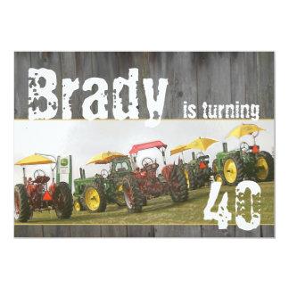 Tractor Party Invitation: Barn wood & tractors 5x7 Paper Invitation Card