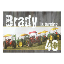Tractor Party Invitation: Barn wood & tractors Card