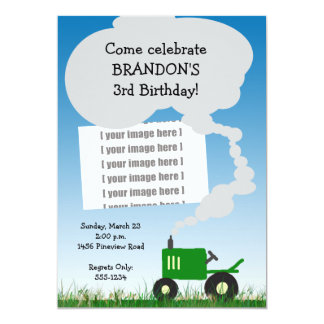 Tractor Party Invitation: Green Tractor, Add Your  Card