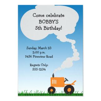 Tractor Party Invitation: Orange Tractor 5x7 Paper Invitation Card