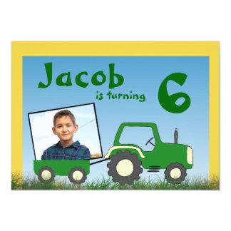 "Tractor Party Invitation: Photo in Cart 5"" X 7"" Invitation Card"
