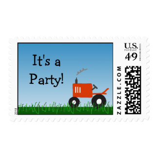 Tractor Party Postage Red Tractor