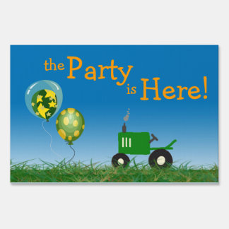 Tractor Party Yard Sign