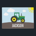 """Tractor Personalized Placemat for Kids<br><div class=""""desc"""">This fun personalized tractor placemat is perfect for the tractor or farm loving child in your life.  This placemat features a fun green and yellow tractor with a bright yellow sun and some puffy white clouds.  Mealtimes are more fun with a personalized placemat!</div>"""