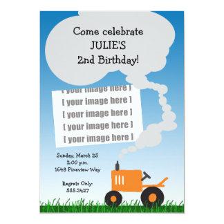 Tractor Photo Invitation: Orange Tractor Card