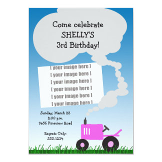 Tractor Photo Invitation: Pink Tractor Card