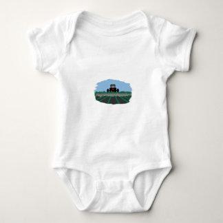 Tractor Plowing Fields Baby Bodysuit