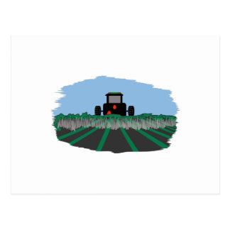 Tractor Plowing Fields Postcard