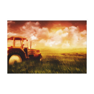Tractor Plowing Oil Painting Print Wrapped