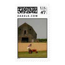 Tractor Postage: Vintage tractor, flag, barn Postage
