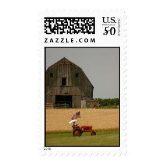Tractor Postage: Vintage tractor, flag, barn Postage