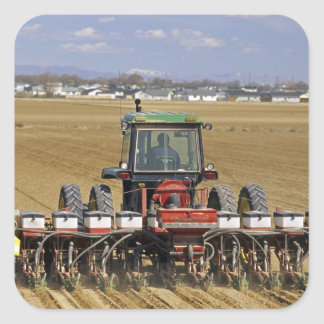 Tractor pulling a seed corn planter. square sticker
