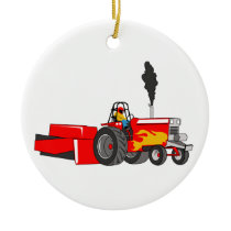 Tractor Pulling Ceramic Ornament