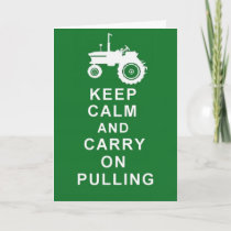 TRACTOR PULLING KEEP CALM Greetings Birthday Card