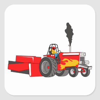 Tractor Pulling Square Sticker
