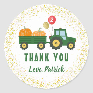 Tractor Pumpkin Autumn Birthday Thank You Classic Round Sticker
