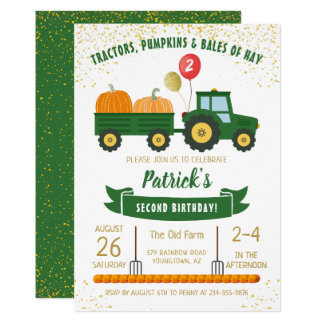 Tractor Pumpkin Fall Autumn Birthday Invitation