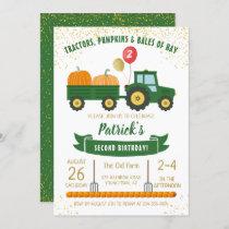 Tractor Pumpkin Fall Autumn Birthday Invitation